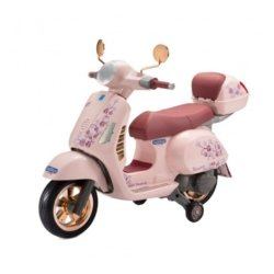 Электромотоцикл Peg-Perego Vespa Mon Amour (до 4,9 км/ч, колеса резиновая накладка, аудио эффекты)