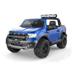 Электромобиль Ford Ranger Raptor синий (2х местный, колеса резина, кресло кожа, пульт, музыка)