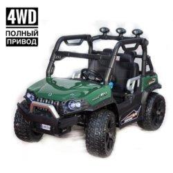 Электромобиль Baggy 3314 DLS02A зеленый (полный привод, резиновые колеса, кожаное кресло, пульт, музыка)